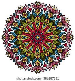 Beautiful Mandala hindu symbol with colorful geometric shapes in vector format