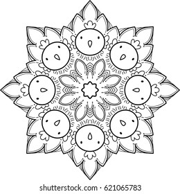 Beautiful mandala pattern. Can be used as a coloring book for children and adults to enjoy their hobby.