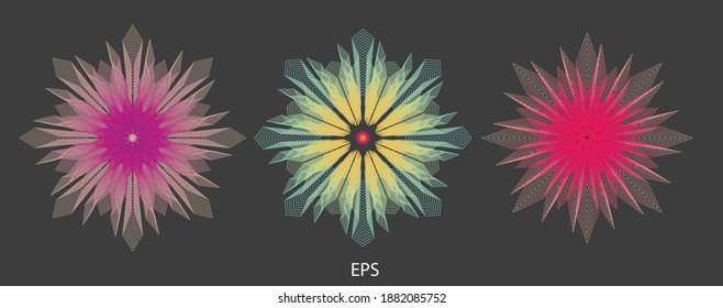 Beautiful mandalas. Abstract fractal patterns and shapes. Infinite universe.Mysterious psychedelic relaxation pattern. Dynamic flowing natural forms. Sacred geometry. Vector image.