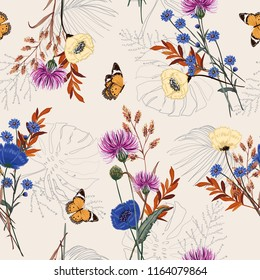 Beautiful many kind of garden flower, plants ,botanical ,butterfly,seamless pattern vector design for fashion,fabric,wallpaper and all prints on sweet beige background color