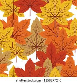 Beautiful Maple Leaf fall Seamless Pattern
