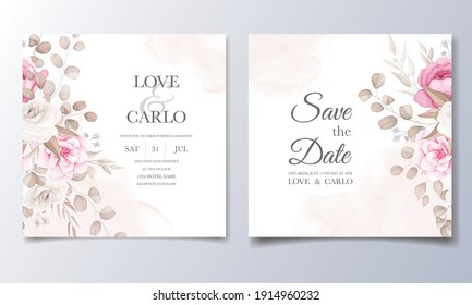 Beautiful maroon and peach floral and leaves wedding invitation card