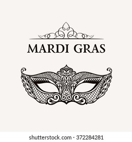 Beautiful mask of lace symbol. Mardi Gras vector background. White and black masquerade element. Venetian carnival logo. Vintage unique luxury quality pattern