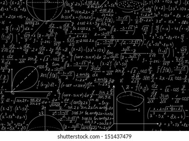 Beautiful mathematical seamless pattern with algebra equations, figures and plots. You can use any color of background.