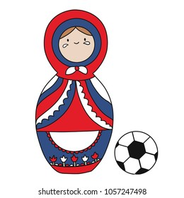 Beautiful Matrioshka for the Russian Federation national team of football. Soccer ball. Vector icon isolated white background. Russia matreshka picture