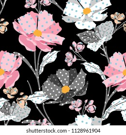Beautiful Meadow and wild flowers made with polka dots fill-in seamless vector pattern modern style for fashion,fabric,wallpaper, and all prints on black background