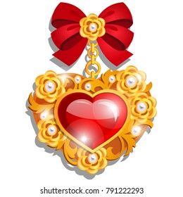 A beautiful medal in the shape of a red heart made of precious stones set in gold with ribbon bow isolated on white background. A symbol of love and generosity. Vector cartoon close-up illustration.
