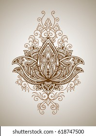 Beautiful mehndi pattern with curls and a symbol of a lotus