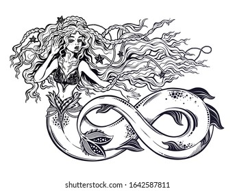 Beautiful mermaid girl with fish tail as infinity sign and vintage style hair. Seductive ocean siren in sailor flash tattoo fantasy style. Sea goddess, mythology art. Isolated vector illustration.