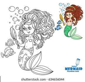 Beautiful mermaid girl pretties herself in front of a hand mirror coloring page on a white background