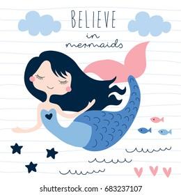 beautiful mermaid girl vector illustration
