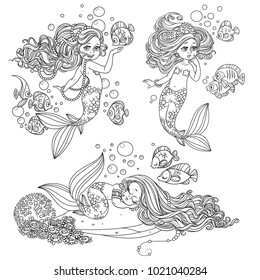 Beautiful mermaid girls with fish outlined set  for coloring page isolated on a white background