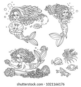Beautiful mermaid girls in tiaras with fish outlined set for coloring page isolated on a white background