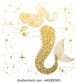 Beautiful mermaid with human skull in her hands. Hand drawn Isolated vector illustration. Sea, fantasy, spirituality, mythology, tattoo art, coloring books.