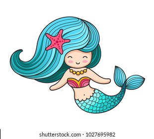 Beautiful mermaid with long hair. Vector colored illustration.