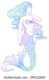 Beautiful mermaid outline vector hand drawn illustration