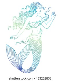 Beautiful mermaid outline vector hand drawn illustration on watercolor background.