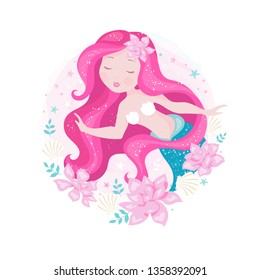 Beautiful mermaid with pink flowers and shells and leaves. Illustration for t shirts and fabrics or kids fashion artworks, children books. Fashion illustration drawing in modern style. Cute Mermaid