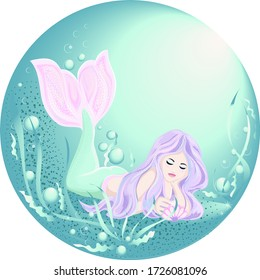 A beautiful mermaid with purple hair looks at a pearl shell. Vector illustration