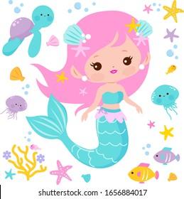 Beautiful mermaid and sea animals. Vector illustration