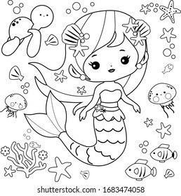 Beautiful mermaid and sea animals. Vector black and white coloring page.