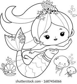 Mermaid Coloring Page High Res Stock Images Shutterstock