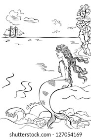 Beautiful Mermaid Sitting On A Rock Watching The Ship Coloring Book