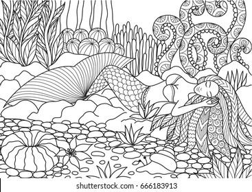 Beautiful mermaid sleeping on rocks design for adult or kids coloring book. Vector illustration