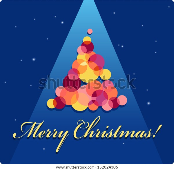Beautiful Merry Christmas Greeting Card Tree Stock Vector