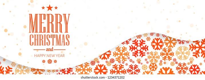 Beautiful merry christmas snowflake banner design vector
