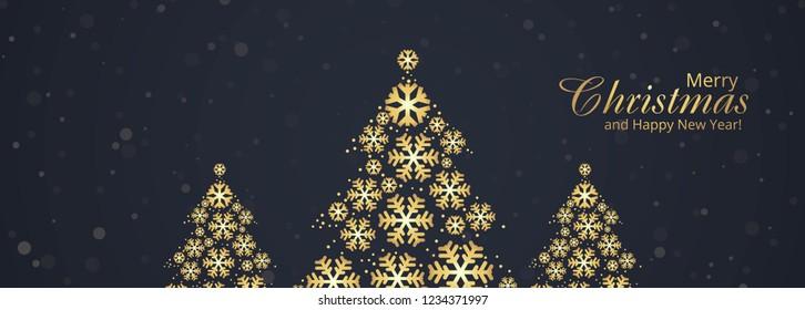 Beautiful merry christmas tree banner template design