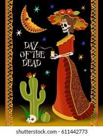 A beautiful Mexican woman. Mexican Festive Card. Mexican National Holiday card. Day of the Dead. Mexican skeleton