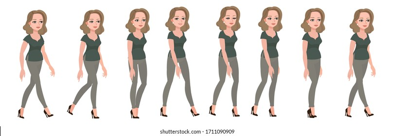 Beautiful middle-aged woman. Gait of a female character, animated sprites.