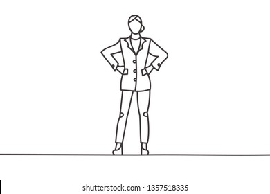 Beautiful minimal continuous line business woman power pose design vector