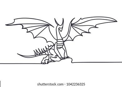 Beautiful minimal continuous line fire dragon art design vector
