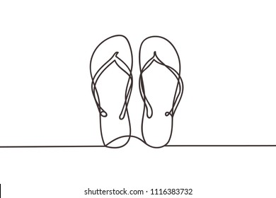 Beautiful minimal continuous line flipflop design vect