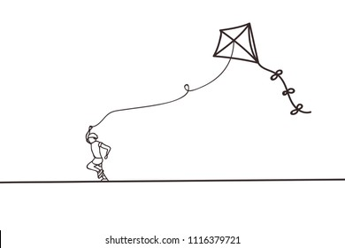 Beautiful minimal continuous line kite design vector