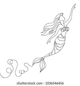 Beautiful minimal continuous line mermaid design vector