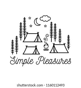 Beautiful minimalist vector illustration - camping in a forest, Simple Pleasures