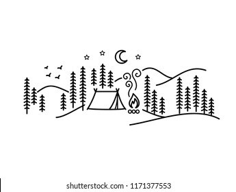 Beautiful minimalist vector illustration - camping in a forest
