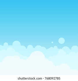 Beautiful minimalistic cloudscape in sunny day. Vector Illustration