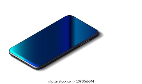 Beautiful Modern Abstract Black Smart Phone on White Background. Isometric View. Realistic Vector. Mockup of Smartphone with Touchscreen.