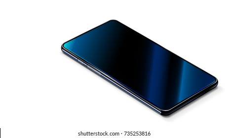 Beautiful modern abstract black smart phone on white table. Perspective view. Realistic vector. Smartphone with touchscreen mockup.