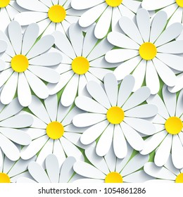 Beautiful modern background seamless pattern with white 3d flowers chamomiles cut paper. Floral trendy creative wallpaper. Stylish nature spring or summer backdrop. Graphic design. Vector illustration
