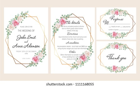 Beautiful modern geometric wedding invitation set with blush pink and white roses. This wedding invitation template set includes four templates: invitation card, rsvp card, details and thank you card.