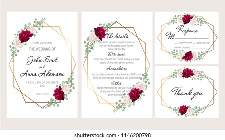 Beautiful modern geometric wedding invitation set with dark red and white roses. This wedding invitation template set includes four templates: invitation card, rsvp card, details and thank you card.