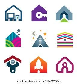 Beautiful modern house creative ideas construction of future logo icon set