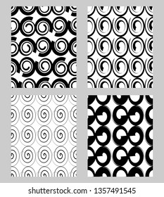 Beautiful modern monochrome textile patterns sampler, fabric design in black and white, set of seamless ornaments in spiral design