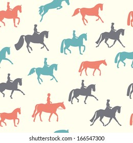 Beautiful modern seamless pattern with different horse silhouettes. Perfect background with elegant animals drawn in grey, red and blue colors.