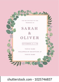 A beautiful modern wedding invitation or save the date card template. This romantic card can be personalized and used for any kind of invitation.